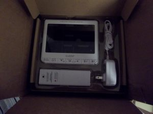 The purchase is here. The remote sensor, The main display unit and the power adapter