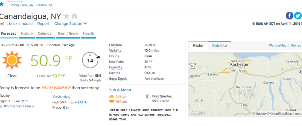 My Local Weather Canandaigua New York