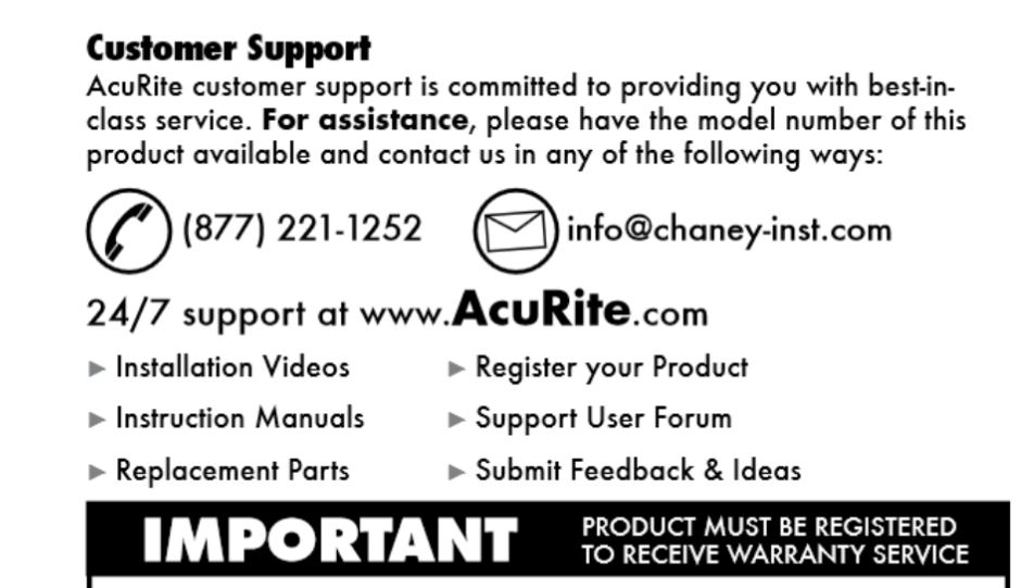 Acurite 02007 warranty customer service