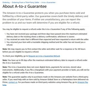 AMAZON A-Z Guarantee